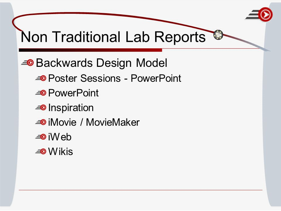Non Traditional Lab Reports Backwards Design Model Poster Sessions - PowerPoint PowerPoint Inspiration iMovie / MovieMaker iWeb Wikis
