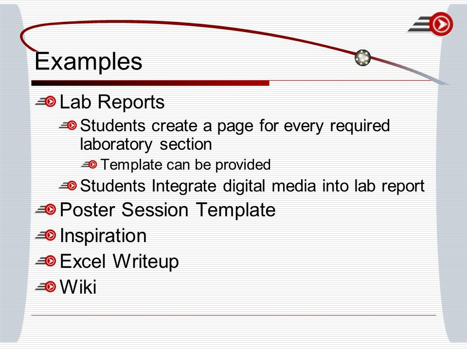 Examples Lab Reports Students create a page for every required laboratory section Template can be provided Students Integrate digital media into lab r
