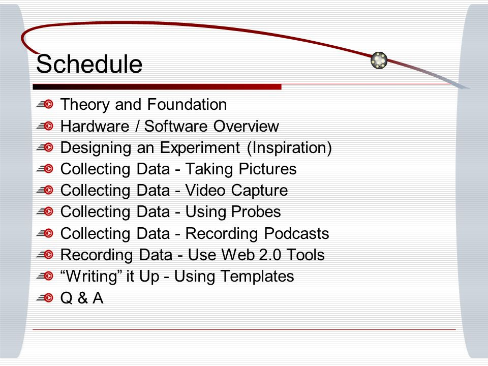 Schedule Theory and Foundation Hardware / Software Overview Designing an Experiment (Inspiration) Collecting Data - Taking Pictures Collecting Data - Video Capture Collecting Data - Using Probes Collecting Data - Recording Podcasts Recording Data - Use Web 2.0 Tools Writing it Up - Using Templates Q & A