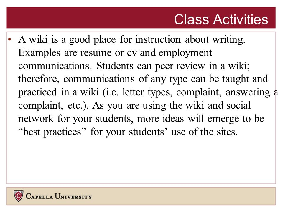 A wiki is a good place for instruction about writing.