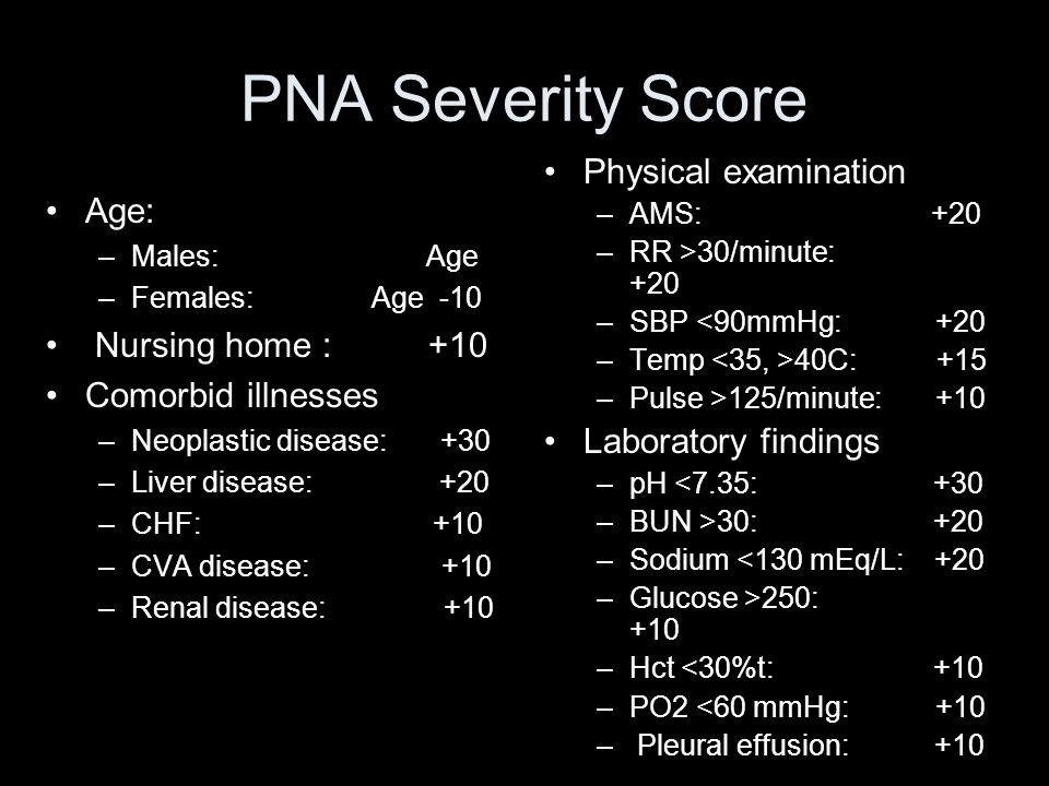 PNA Severity Score Age: –Males: Age –Females: Age -10 Nursing home : +10 Comorbid illnesses –Neoplastic disease: +30 –Liver disease: +20 –CHF: +10 –CV