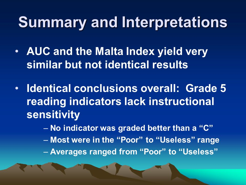 Summary and Interpretations AUC and the Malta Index yield very similar but not identical results Identical conclusions overall: Grade 5 reading indicators lack instructional sensitivity –No indicator was graded better than a C –Most were in the Poor to Useless range –Averages ranged from Poor to Useless