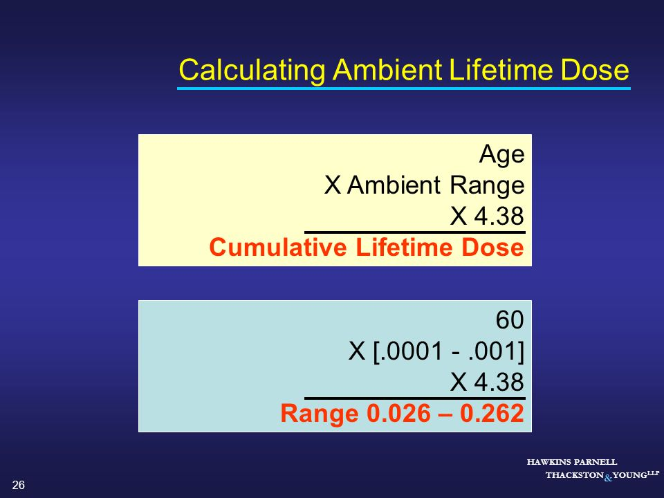 26 HAWKINS PARNELL THACKSTON & YOUNG LLP Calculating Ambient Lifetime Dose Age X Ambient Range X 4.38 Cumulative Lifetime Dose 60 X [.0001 -.001] X 4.