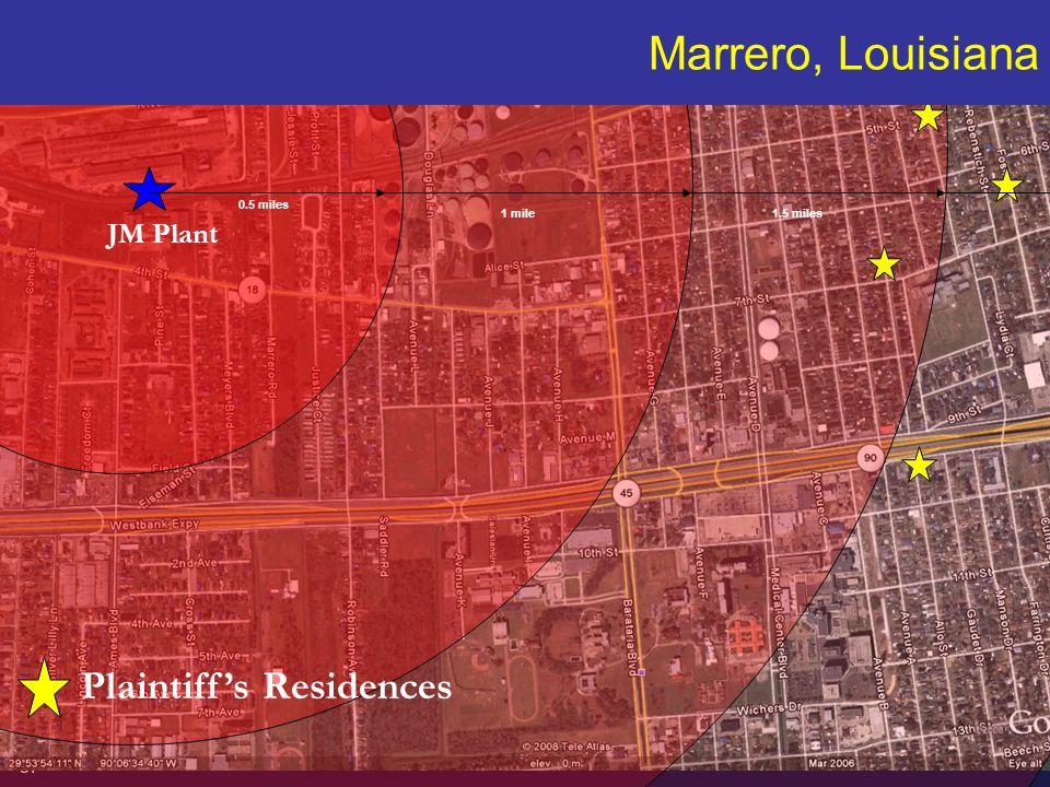 37 HAWKINS PARNELL THACKSTON & YOUNG LLP JM Plant Plaintiffs Residences Marrero, Louisiana 0.5 miles 1 mile1.5 miles