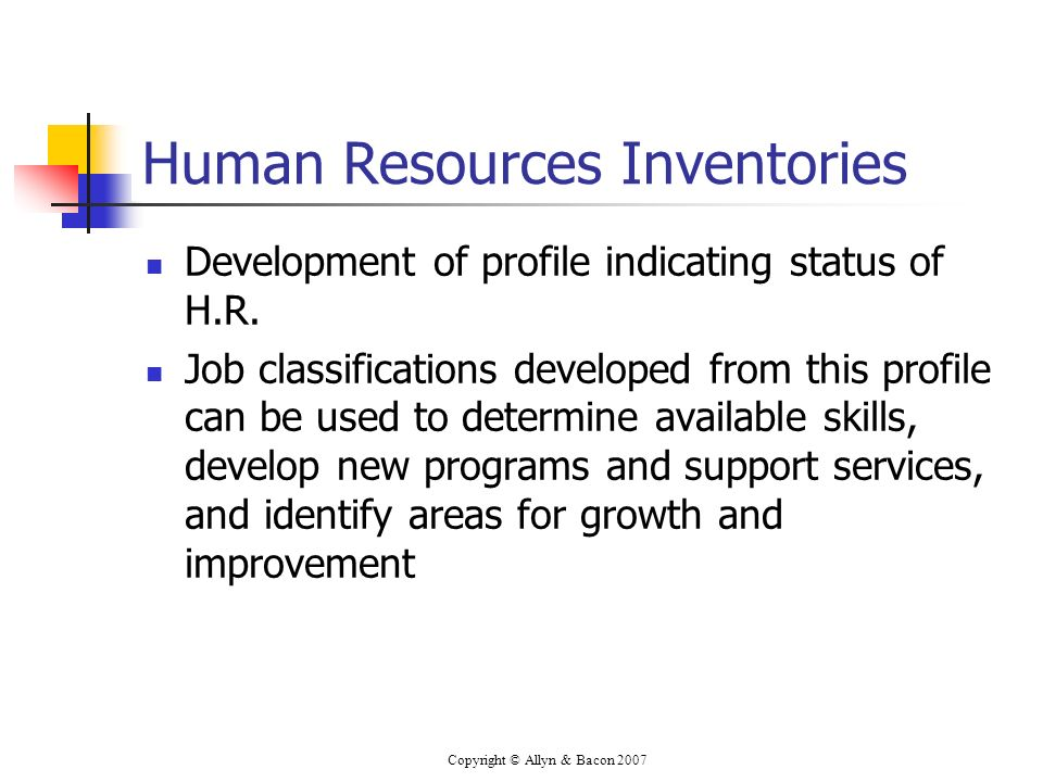 Copyright © Allyn & Bacon 2007 Human Resources Inventories Development of profile indicating status of H.R. Job classifications developed from this pr