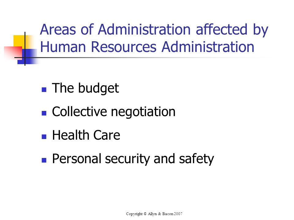 Copyright © Allyn & Bacon 2007 Areas of Administration affected by Human Resources Administration The budget Collective negotiation Health Care Personal security and safety