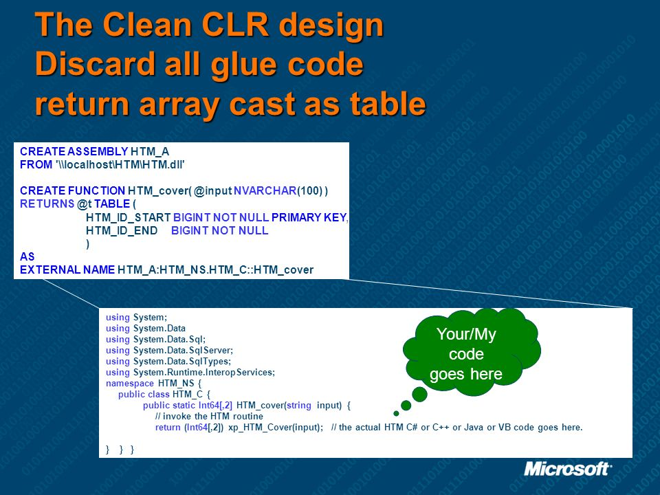 The Clean CLR design Discard all glue code return array cast as table CREATE ASSEMBLY HTM_A FROM '\\localhost\HTM\HTM.dll' CREATE FUNCTION HTM_cover(