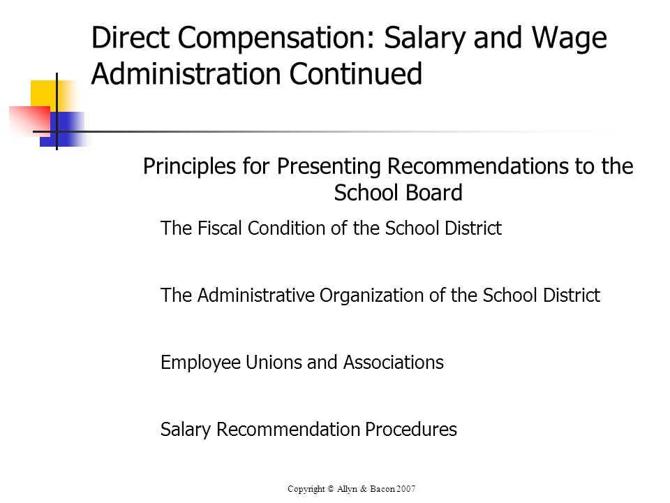 Copyright © Allyn & Bacon 2007 Direct Compensation: Salary and Wage Administration Continued Principles for Presenting Recommendations to the School B