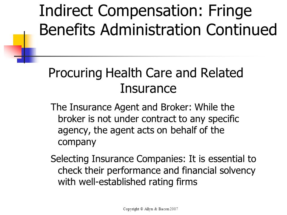 Copyright © Allyn & Bacon 2007 Indirect Compensation: Fringe Benefits Administration Continued Procuring Health Care and Related Insurance The Insuran