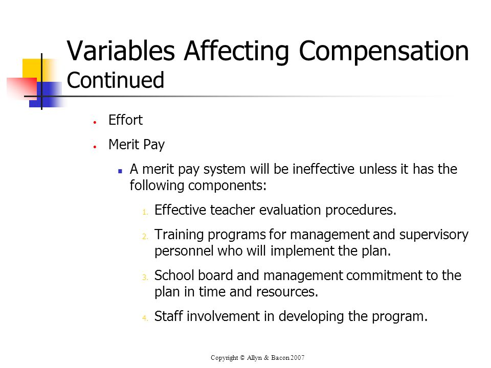 Copyright © Allyn & Bacon 2007 Variables Affecting Compensation Continued Effort Merit Pay A merit pay system will be ineffective unless it has the fo