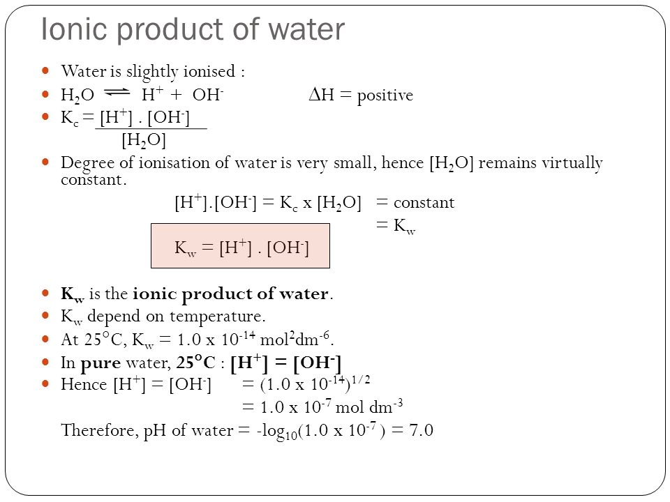 Hydrolysis of Salts Salt ofSolution formed in water Reaction (example) Weak acid & strong base Alkaline solutionCH 3 COONa(aq) CH 3 COO - (aq) + Na + (aq) -CH 3 COO - ion reacts with H + ions from water.