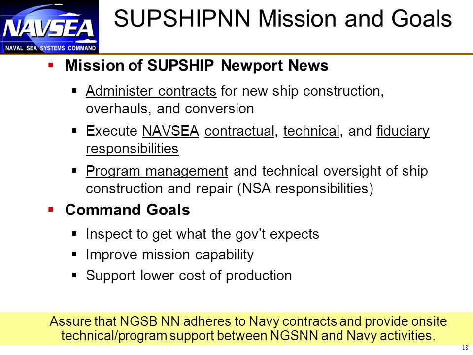 18 SUPSHIPNN Mission and Goals Mission of SUPSHIP Newport News Administer contracts for new ship construction, overhauls, and conversion Execute NAVSEA contractual, technical, and fiduciary responsibilities Program management and technical oversight of ship construction and repair (NSA responsibilities) Command Goals Inspect to get what the govt expects Improve mission capability Support lower cost of production Assure that NGSB NN adheres to Navy contracts and provide onsite technical/program support between NGSNN and Navy activities.