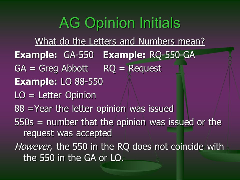 AG Opinion Initials What do the Letters and Numbers mean.