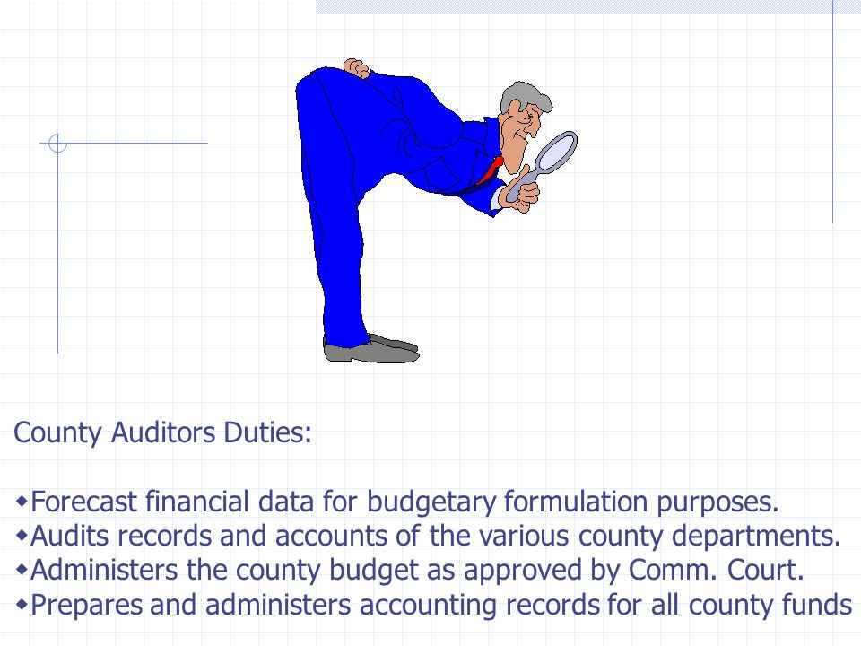 County Auditors Office Why have a County Auditor? Main reason: To maintain the integrity of the financial administration of the County. Texas Local Go