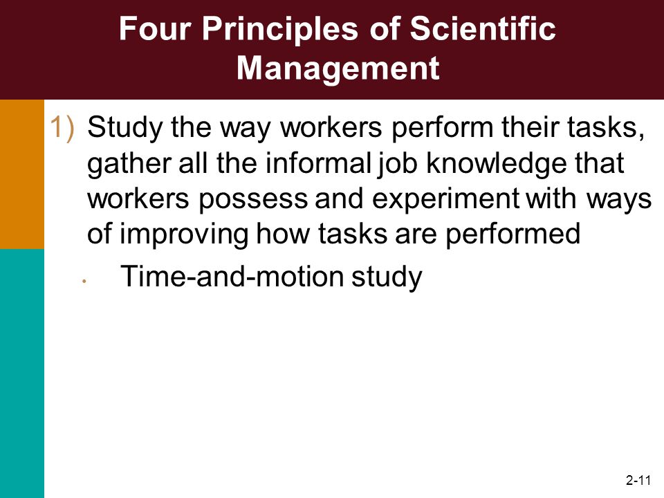 2-11 Four Principles of Scientific Management 1)Study the way workers perform their tasks, gather all the informal job knowledge that workers possess