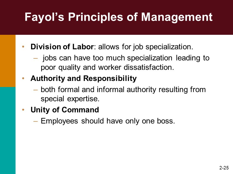 2-25 Fayols Principles of Management Division of Labor: allows for job specialization. – jobs can have too much specialization leading to poor quality