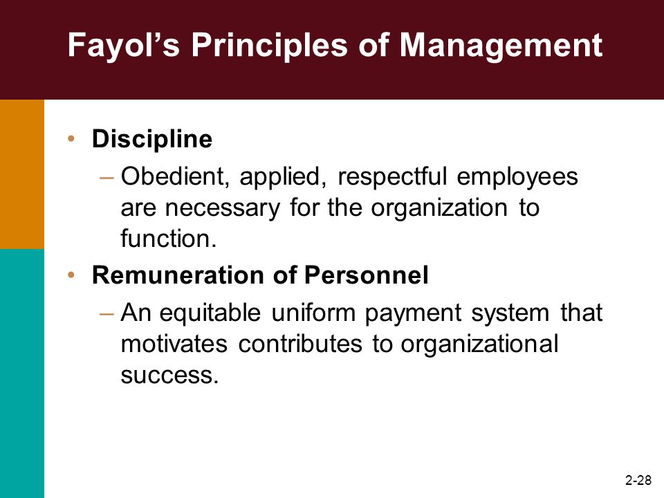 2-28 Fayols Principles of Management Discipline –Obedient, applied, respectful employees are necessary for the organization to function. Remuneration