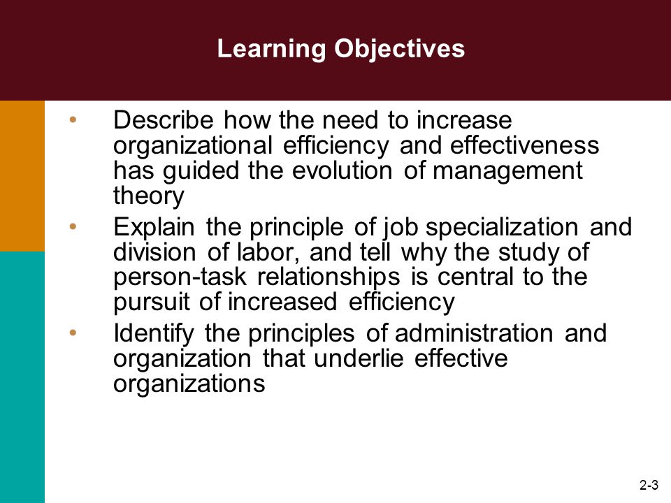 2-3 Learning Objectives Describe how the need to increase organizational efficiency and effectiveness has guided the evolution of management theory Ex