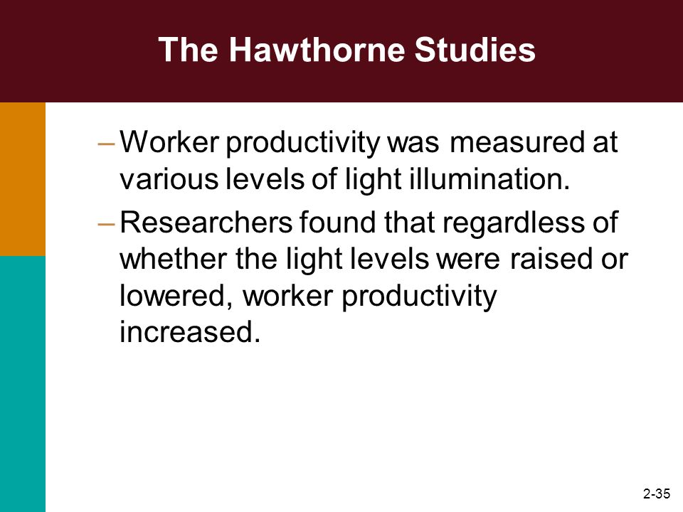 2-35 The Hawthorne Studies –Worker productivity was measured at various levels of light illumination. –Researchers found that regardless of whether th