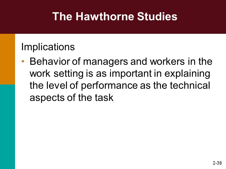 2-38 The Hawthorne Studies Implications Behavior of managers and workers in the work setting is as important in explaining the level of performance as
