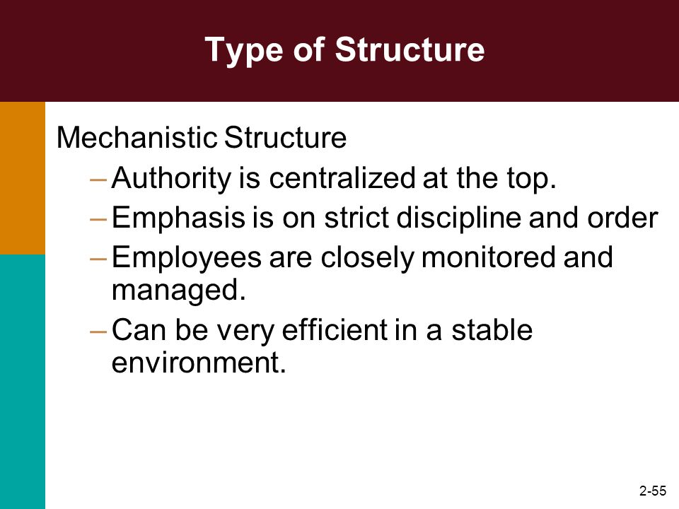 2-55 Type of Structure Mechanistic Structure –Authority is centralized at the top. –Emphasis is on strict discipline and order –Employees are closely