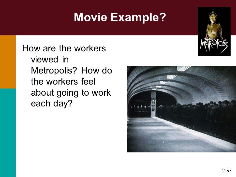 2-57 Movie Example? How are the workers viewed in Metropolis? How do the workers feel about going to work each day?