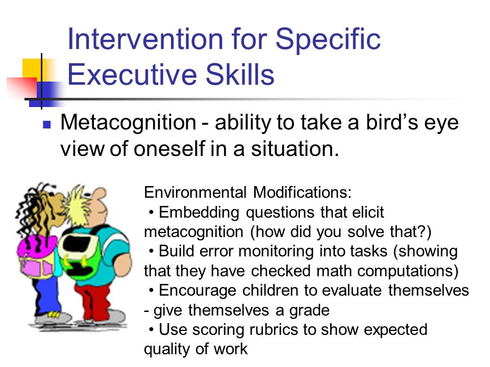 Intervention for Specific Executive Skills Metacognition - ability to take a birds eye view of oneself in a situation.