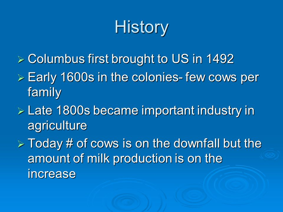 History Columbus first brought to US in 1492 Columbus first brought to US in 1492 Early 1600s in the colonies- few cows per family Early 1600s in the