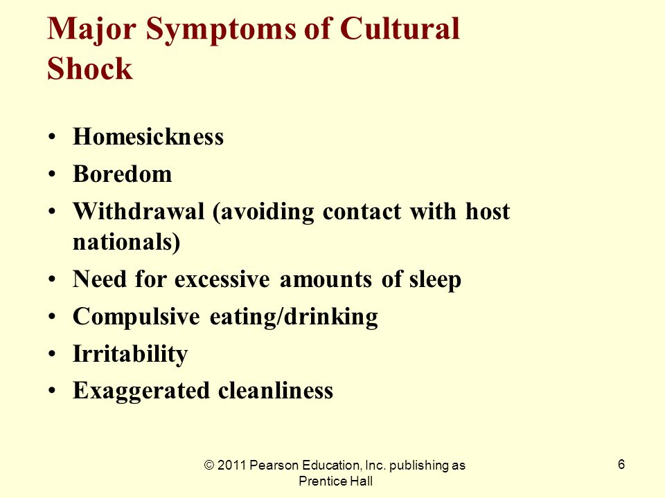 © 2011 Pearson Education, Inc. publishing as Prentice Hall 6 Major Symptoms of Cultural Shock Homesickness Boredom Withdrawal (avoiding contact with h