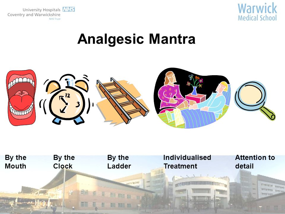 By the Mouth By the Clock By the Ladder Analgesic Mantra Individualised Treatment Attention to detail