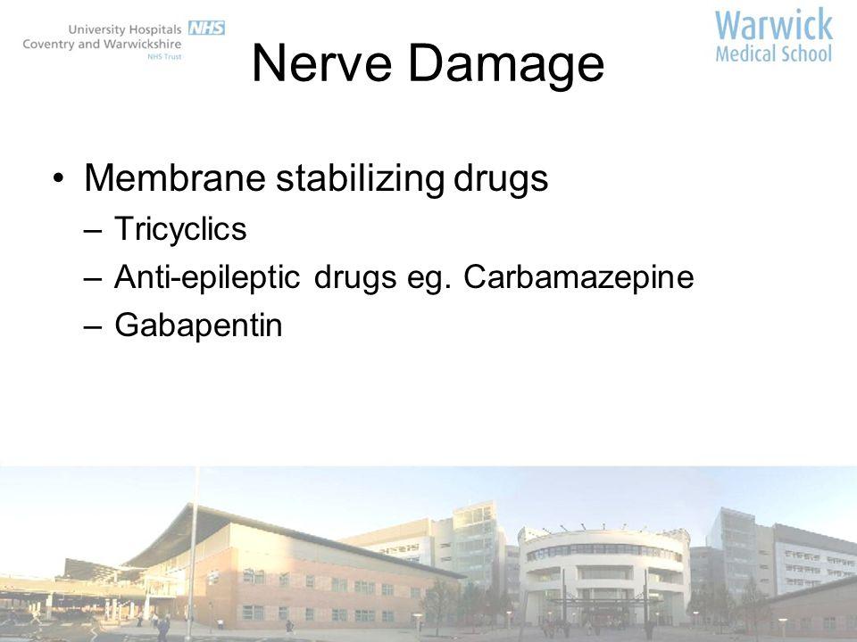 Nerve Damage Membrane stabilizing drugs –Tricyclics –Anti-epileptic drugs eg. Carbamazepine –Gabapentin