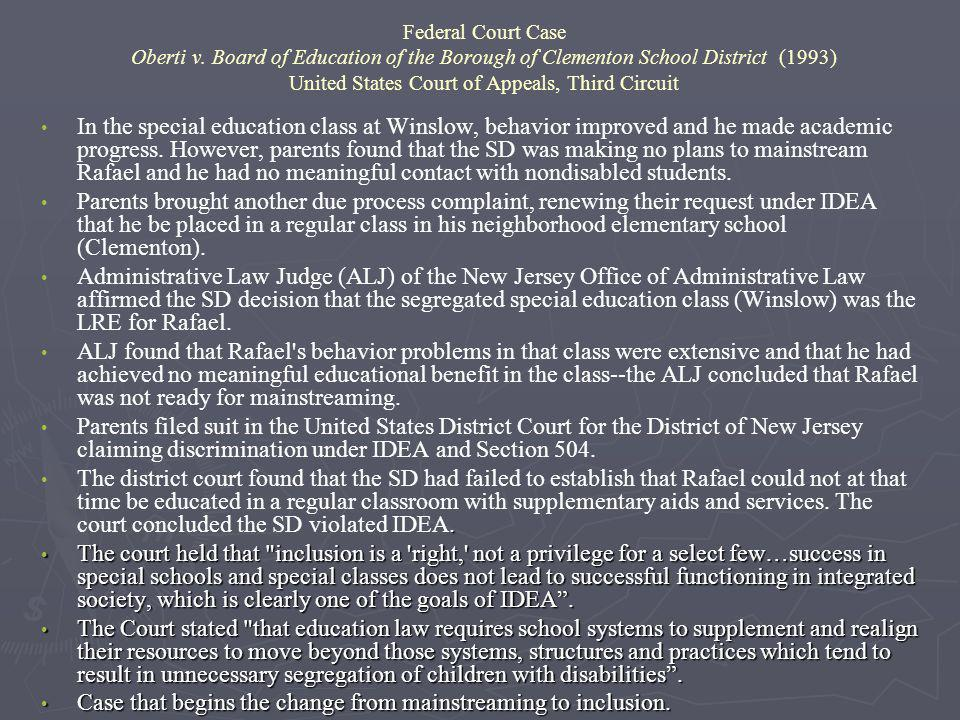 Federal Court Case Oberti v. Board of Education of the Borough of Clementon School District (1993) United States Court of Appeals, Third Circuit In th