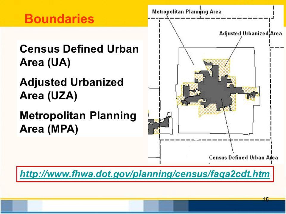 15 Boundaries http://www.fhwa.dot.gov/planning/census/faqa2cdt.htm Census Defined Urban Area (UA) Adjusted Urbanized Area (UZA) Metropolitan Planning Area (MPA)