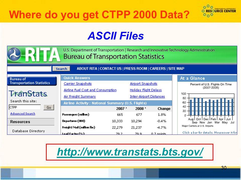 30 Where do you get CTPP 2000 Data http://www.transtats.bts.gov/ ASCII Files