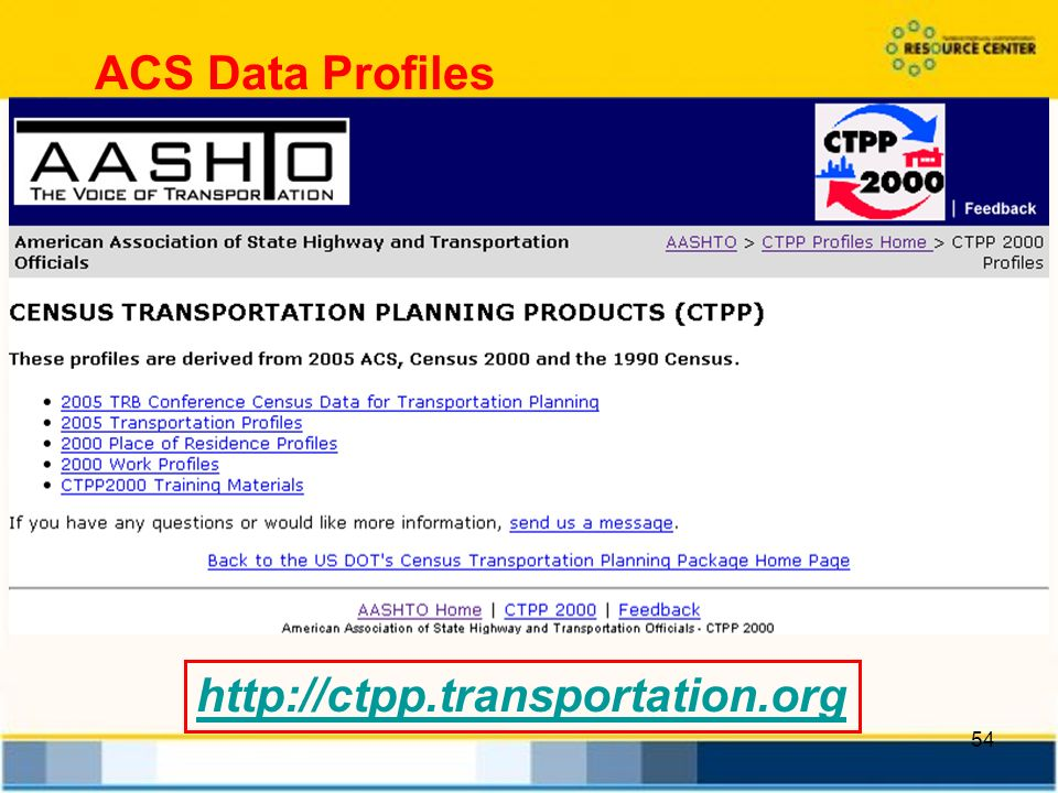 54 http://ctpp.transportation.org ACS Data Profiles