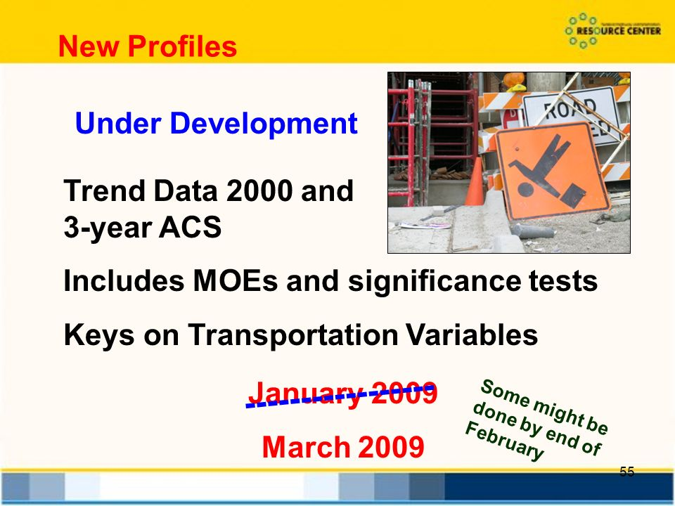 55 Trend Data 2000 and 3-year ACS Includes MOEs and significance tests Keys on Transportation Variables New Profiles January 2009 March Some might be done by end of February Under Development