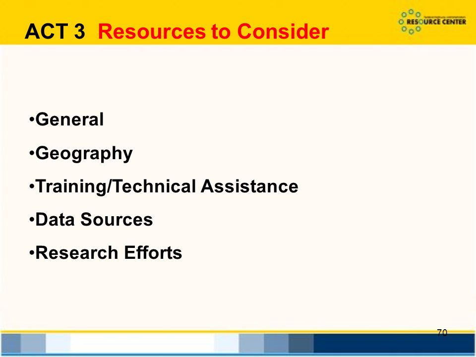 70 General Geography Training/Technical Assistance Data Sources Research Efforts ACT 3 Resources to Consider
