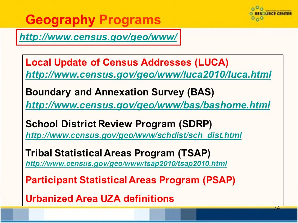 74 Local Update of Census Addresses (LUCA)     Boundary and Annexation Survey (BAS)   School District Review Program (SDRP)   Tribal Statistical Areas Program (TSAP)   Participant Statistical Areas Program (PSAP) Urbanized Area UZA definitions   Geography Programs