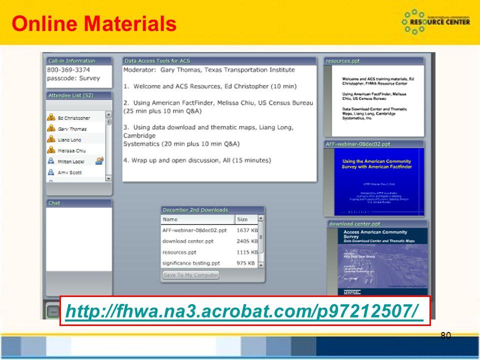80 http://fhwa.na3.acrobat.com/p97212507/ Online Materials