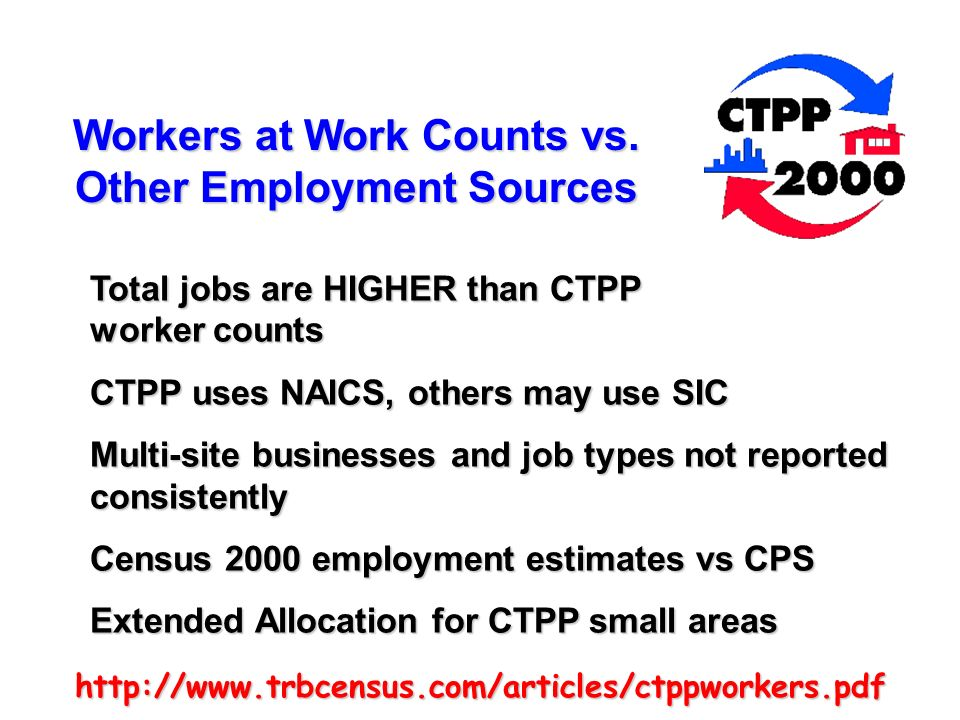 http://www.trbcensus.com/articles/ctppworkers.pdf Workers at Work Counts vs. Other Employment Sources Total jobs are HIGHER than CTPP worker counts CT