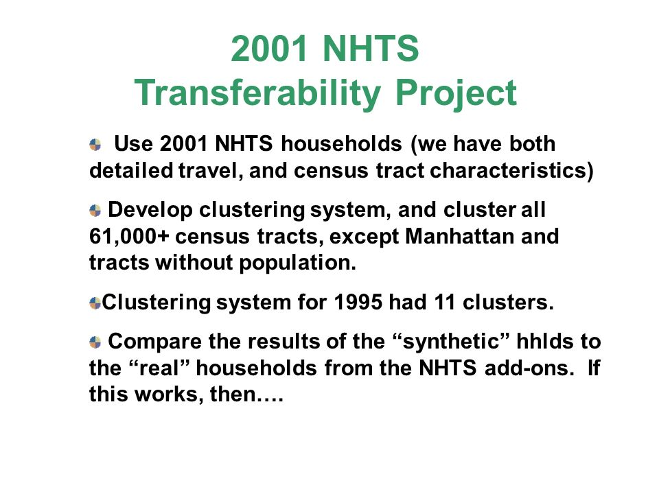 Use 2001 NHTS households (we have both detailed travel, and census tract characteristics) Develop clustering system, and cluster all 61,000+ census tr