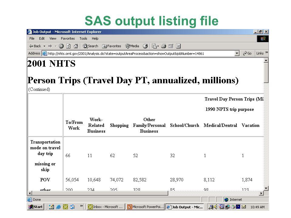 SAS output listing file