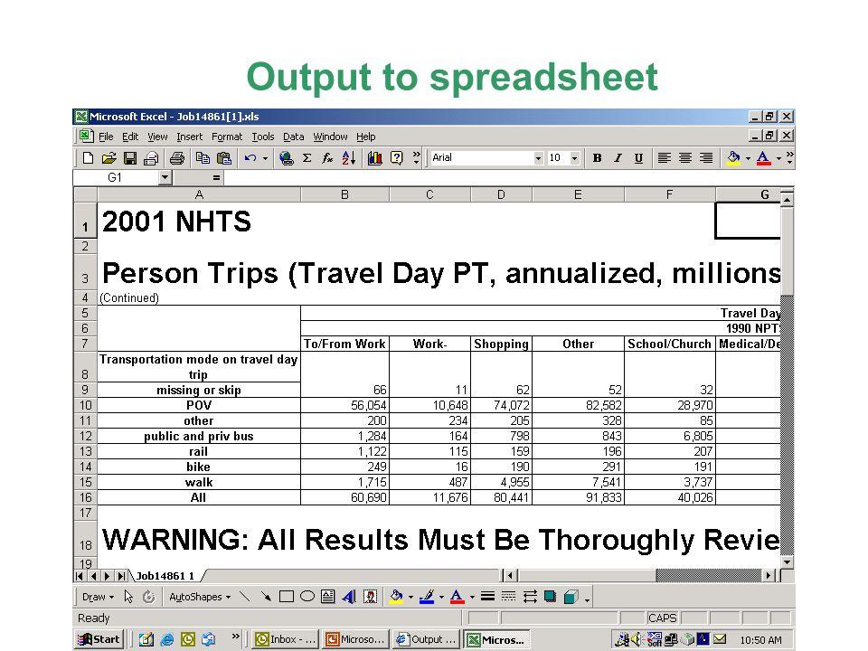 Output to spreadsheet