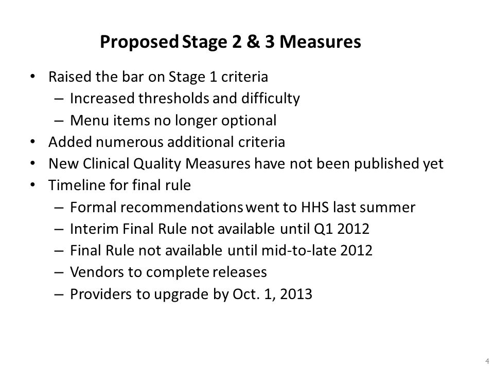 Proposed Stage 2 & 3 Measures Raised the bar on Stage 1 criteria – Increased thresholds and difficulty – Menu items no longer optional Added numerous