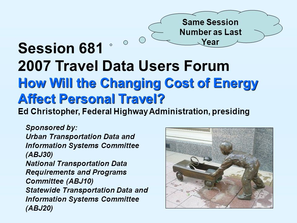 Session Travel Data Users Forum How Will the Changing Cost of Energy Affect Personal Travel.