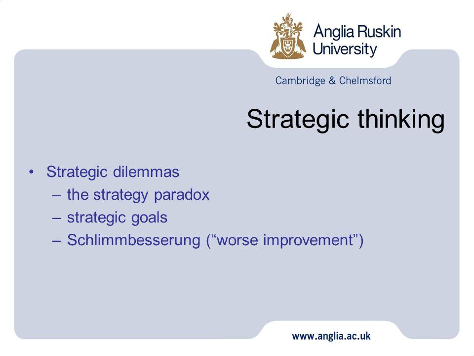 Strategic thinking Strategic dilemmas –the strategy paradox –strategic goals –Schlimmbesserung (worse improvement)