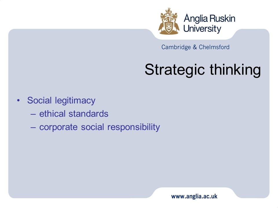 Strategic thinking Social legitimacy –ethical standards –corporate social responsibility