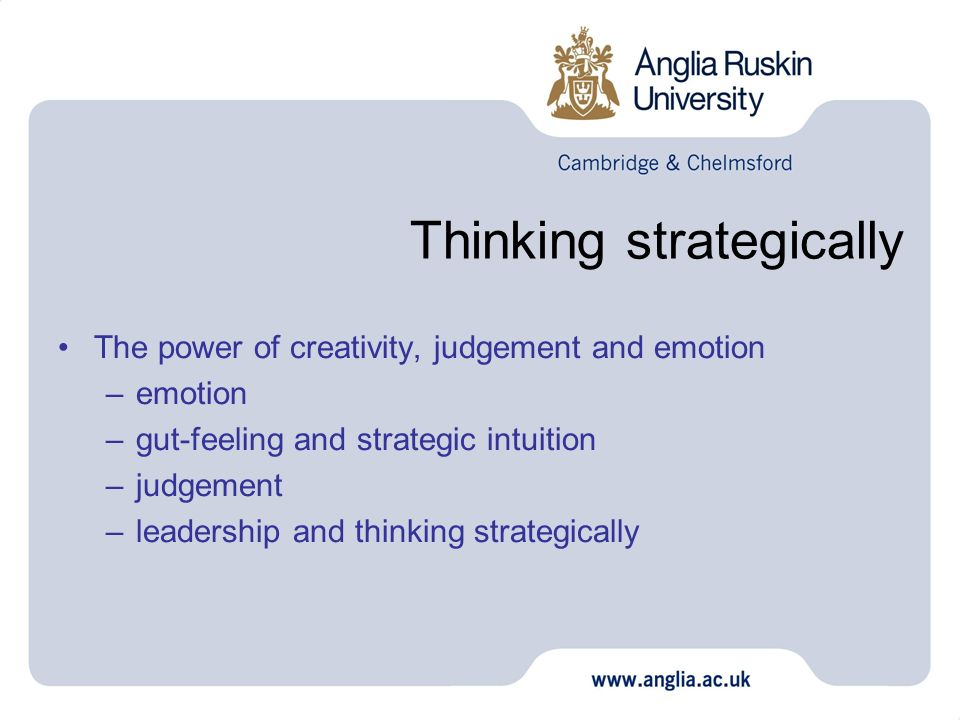 Thinking strategically The power of creativity, judgement and emotion –emotion –gut-feeling and strategic intuition –judgement –leadership and thinkin