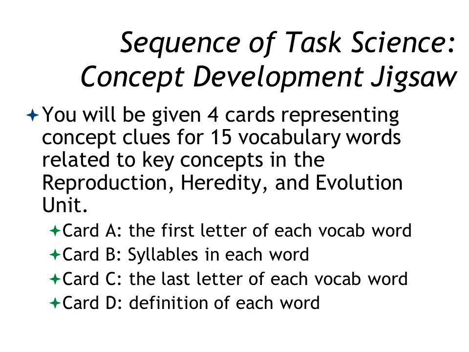 Sequence of Task Science: Concept Development Jigsaw You will be given 4 cards representing concept clues for 15 vocabulary words related to key concepts in the Reproduction, Heredity, and Evolution Unit.
