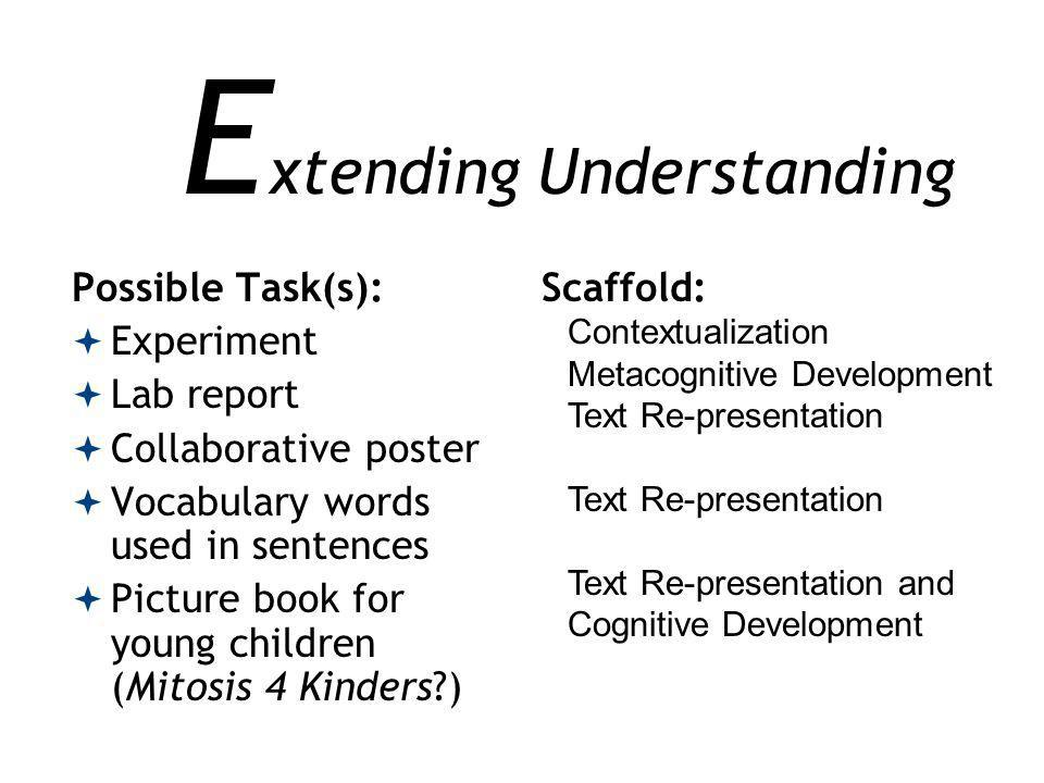 E xtending Understanding Possible Task(s): Experiment Lab report Collaborative poster Vocabulary words used in sentences Picture book for young children (Mitosis 4 Kinders?) Scaffold: Contextualization Metacognitive Development Text Re-presentation Text Re-presentation and Cognitive Development
